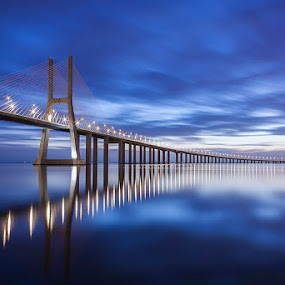 in blue by Emanuel Ribeiro - Buildings & Architecture Bridges & Suspended Structures ( amazing, clouds, dawn, blue, bridge, river,  )