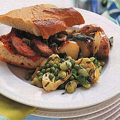 Grilled Lamb Sandwiches with Grilled Green Onions