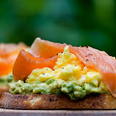 Open Face Sandwiches with Avocado, Egg and Smoked Salmon