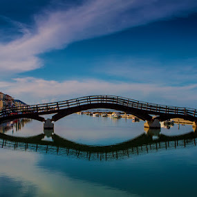 Lefkada by Oguz Sevim - Buildings & Architecture Bridges & Suspended Structures ( sunset, iron bridge, lefkada, bridge, lefkada bridge )