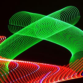 Slinky on steps by Jim Barton - Abstract Patterns ( slinky, slinky on steps, laser light, colorful, light design, laser design, laser, laser light show, light, science )