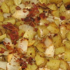 Yukon Gold Roasted Potatoes With Bacon, Onion and Garlic