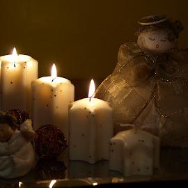 Christmas candle by Andruško Mardešić - Abstract Fire & Fireworks ( candle, christmas lights, light )