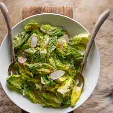 Gem Lettuce with Crème Fraîche, Breakfast Radishes and Toasted Breadcrumbs