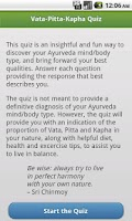 Screenshot of Ayurveda Vata-Pitta-Kapha Quiz