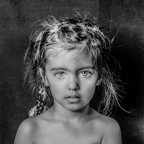 by Nathalie Gemy - Babies & Children Child Portraits ( girl child, black and white, beautiful eyes, child portrait, girl portrait )