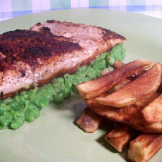 Cajun Blackened Salmon With Pureed Peas and Door Stop Fries