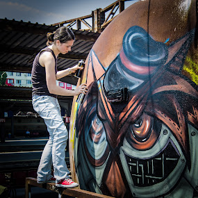 The Artist by Bogdan Rusu - Artistic Objects Industrial Objects ( grafitti, girl, station, woman, train, painting )