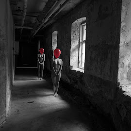 Balloons by Øyvind Sæbø - Nudes & Boudoir Artistic Nude ( models, urban, urbex, red, nude, selective color, black and white, balloons )
