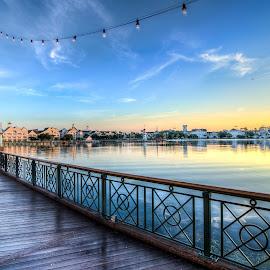 Boardwalk at Sunrise by Justin Galusha - City,  Street & Park  Amusement Parks
