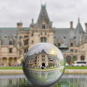 Biltmore Mansion Reflection by Jerry Ehlers - Digital Art Places ( home, reflection, ball, mansion, ashville, biltmore, north carolina,  )