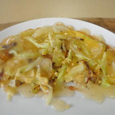 Cabbage Omelette With Sauce, Very Quick