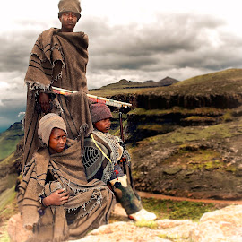 Mountain men by Ferdinand Veer - People Group/Corporate ( mountains, lesotho, landscape, people, ferdinand veer )