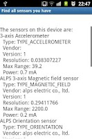 Screenshot of Sensor Finder Phone