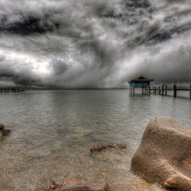 Summer Snow Storm by Tina Benjamin - Landscapes Waterscapes ( canon 5d mark ii, carnelian bay, summer storm, hdr, snow storm, lake, storm, lake tahoe )