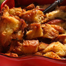 Roasted Peach and Dulce de Leche Bread Pudding