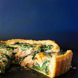Smoked Salmon, Kale and Dill Quiche with Sour Cream Shortcrust