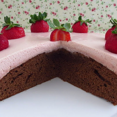 Chocolate Cake With Strawberry Mousse