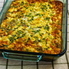 Karyn's Breakfast Casserole with Artichokes, Canadian Bacon, and Goat Cheese