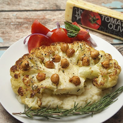 Cauliflower Steaks with Tomato Olive Cauliflower Mash