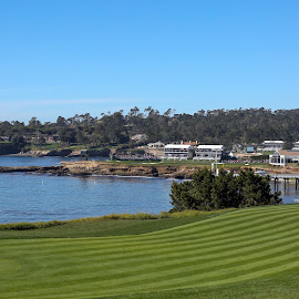 The view from the fairway by Tim Cattera - Sports & Fitness Golf ( tournament, golf course, monterey, pga, green, california, pebble beach, ocean, fairway, course, pro, cove, golf )