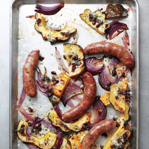 Sausages with Acorn Squash and Onions
