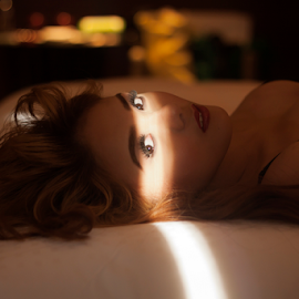 Hey by J D - People Portraits of Women ( bed, light, eyes )