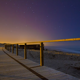 Barra beach by night by Renato Alexandre - Landscapes Beaches ( night, beach, ctars, walkway in the beach, moonlight )