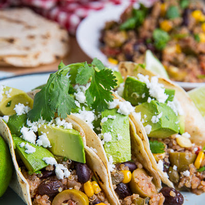 Black Bean, Corn and Quinoa Picadillo Tacos