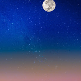 Moon over the Desert by Johan Jooste Snr - Digital Art Places ( moon, desert, stars, twilight, namibia )