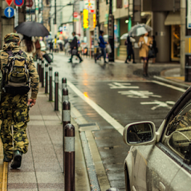 What's the destination? by Anthony Weber - City,  Street & Park  Street Scenes ( car, army, japan, street, sendai, army clothes, man )