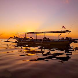 ready by Irwin Hackner - Transportation Boats ( boat, water sunrise )