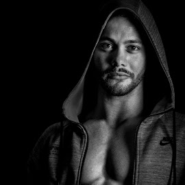C by Justin Case - People Portraits of Men ( black and white, muscles, male, man, portrait )