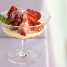 Crème Anglaise with Brown-Sugared Strawberries