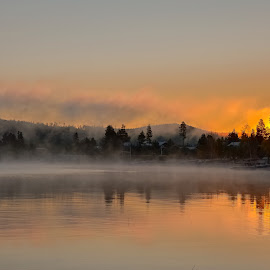 Septembermorning by Ewa Nilsson - Landscapes Waterscapes ( water, sweden, fog, lapland, trees, sunrise )