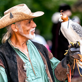 Master Falconer by Edward Kreis - People Street & Candids ( bird, falconer, maryland renaissance festival, maryland, falcon, raptor, falconry, renn fest )
