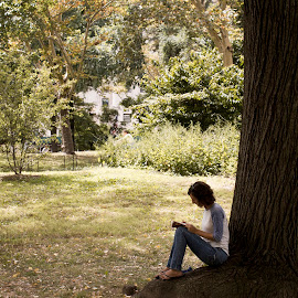 Woman and Tree by Josh Pomponio - City,  Street & Park  City Parks ( art, new york city, central park, canon eos, photography )