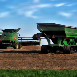 Farming by Tricia Scott - Landscapes Prairies, Meadows & Fields ( field, farm, fall, combine, harvest, prairie, tractor )