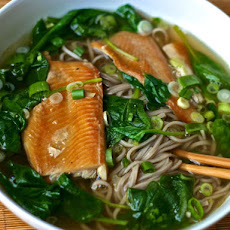 Dinner Tonight: Soba Noodle Soup with Spinach and Smoked Trout