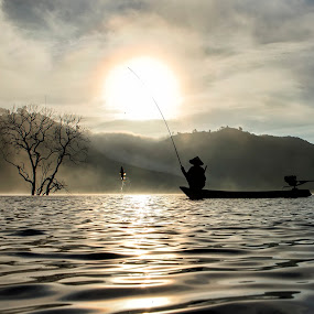 Fisherman by Kenji Le - Landscapes Sunsets & Sunrises ( sunrise, fishing, boat,  )