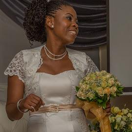 Bride with Flowers by Nicholas Sykes - Wedding Bride