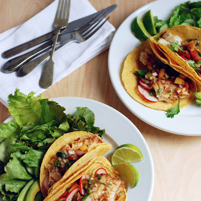 Pacific Cod Fish Tacos with Heirloom Tomato Peach Salsa and a Green Salad