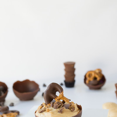 Chocolate Bowls with Peanut Butter Mousse, Peanut Butter Cup Crumbles and a Chocolate Dipped Pretzel