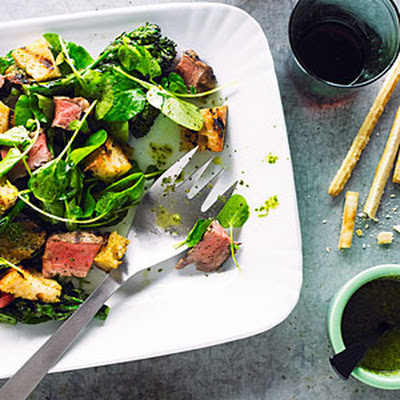 Beef, Broccolini, and Bread Salad with Salsa Verde