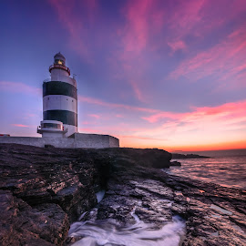 Hook Head lighthouse. by Piotr Dominiak - Landscapes Sunsets & Sunrises ( ireland, lighthouse, hook head, long exposure, seascape, sunrise )