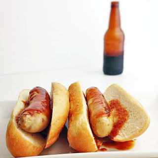 Chicken Bratwursts with Root Beer BBQ Sauce