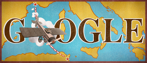 Google Doodle 100th anniversary of the first non-stop flight across the Mediterranean Sea