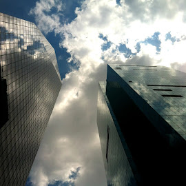 Way up in the sky by Lettie Maciel - Landscapes Cloud Formations ( clouds, sky, skyscrapers, buildings, new york )
