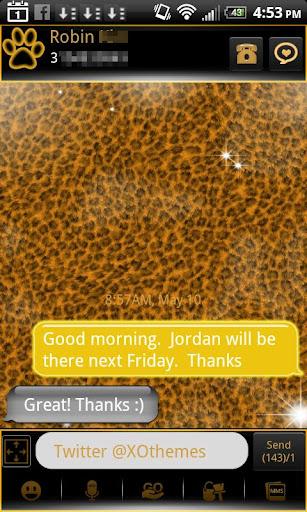 GO SMS Gold Leopard Theme Plus