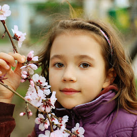 Enjoying the blossoms by Rodica Ruka - Babies & Children Child Portraits ( portrait )